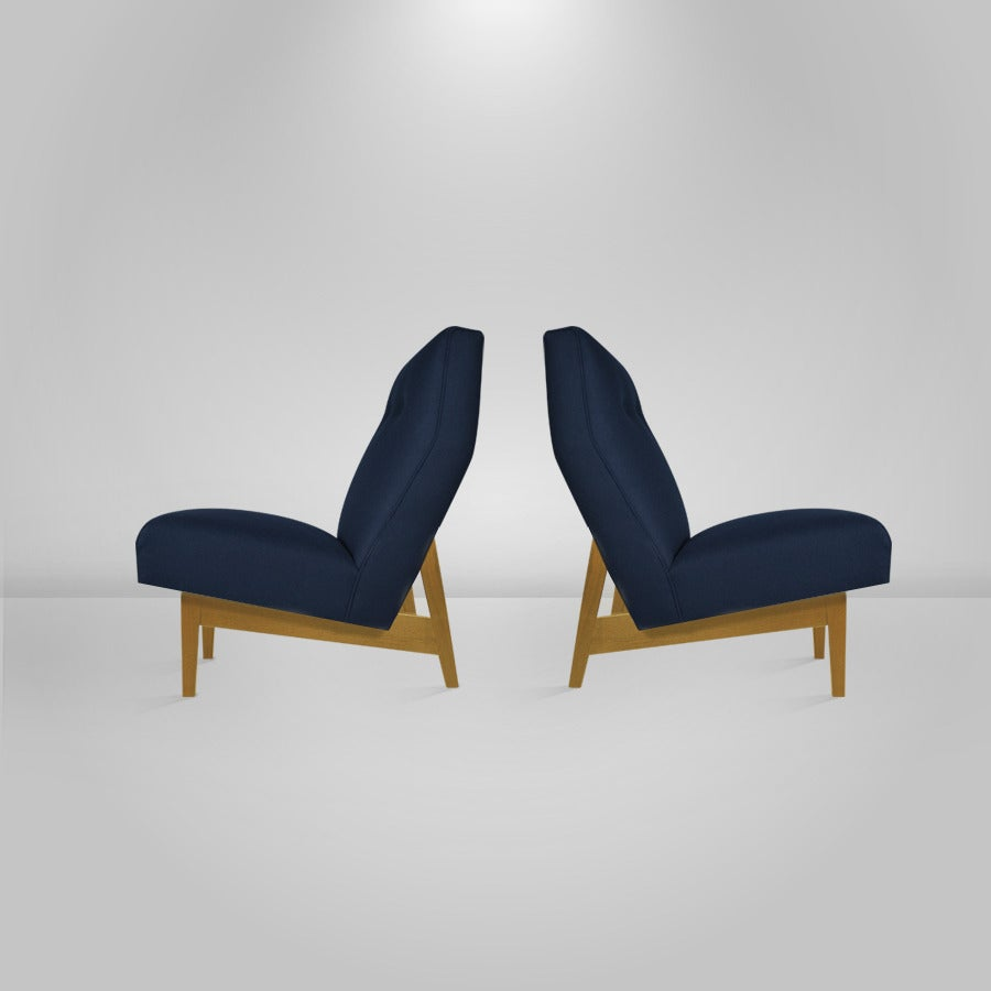 Pair of Floating Jens Risom Lounge or Slipper Chairs at 1stdibs