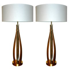 Pair of Sculptural Brass & Walnut Table Lamps by Laurel Co.