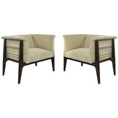 Pair of Sculptural Brass Rodded Lounge Chairs in the Manner of James Mont