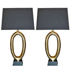 Pair Of Oval Table Lamps after Pierre Cardin