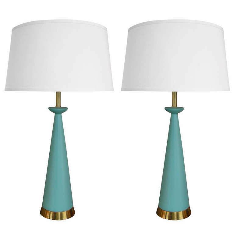 Superior Pair Of Modern Turquoise Table Lamps 1