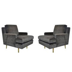 Pair of Edward Wormley for Dunbar Lounge Chairs Model #4872 on Brass Legs