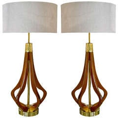 Pair of Sculptural Brass & Walnut Table Lamps