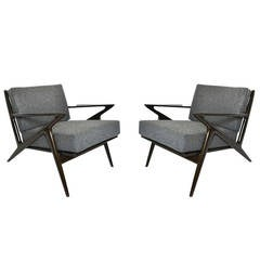 Pair of Modernist Z-Lounge Chairs by Poul Jensen for Selig