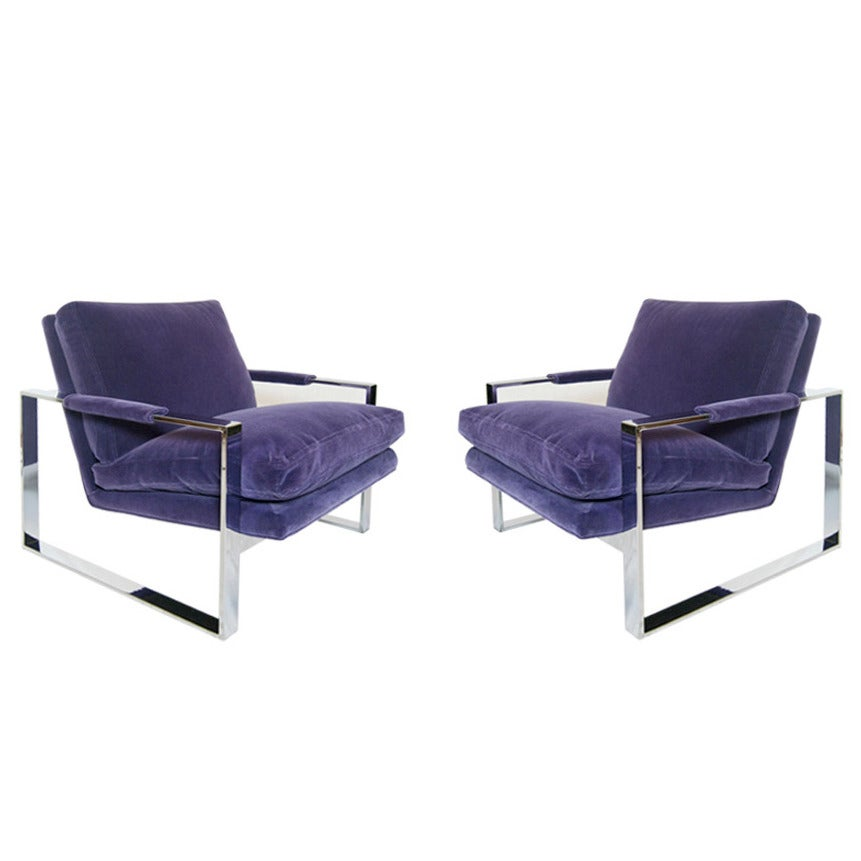 Milo Baughman for Thayer Coggin Chrome Lounge Chairs at 1stdibs