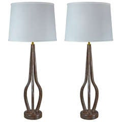 Limed Walnut and Brass Table Lamps in the Manner of Vladimir Kagan