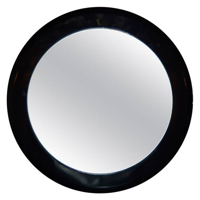 Modernist Black Lacquered Mirror