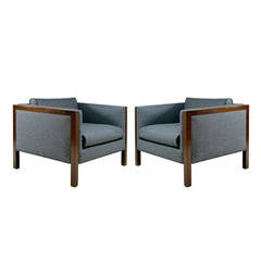 Pair of Cube Walnut Frame Lounge Chairs by Milo Baughman