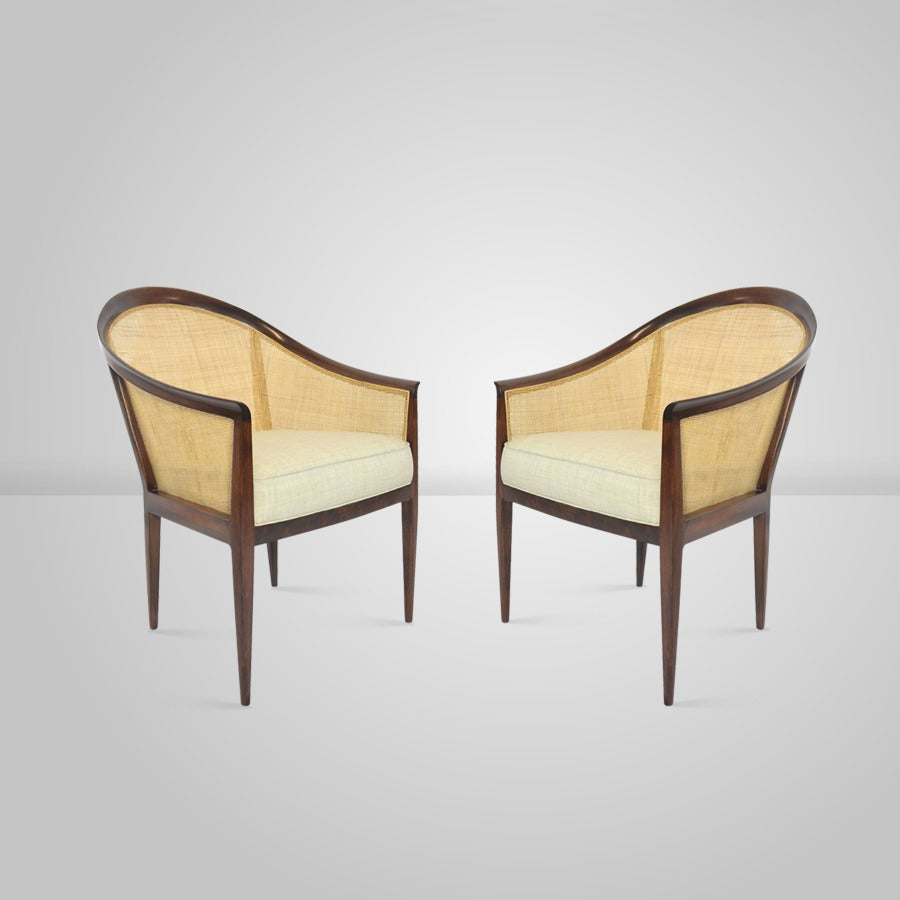 Pair Of Kipp Stewart For Directional Caned Lounge Chairs For Sale At 1stdibs