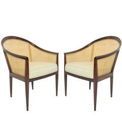 Pair of Kipp Stewart for Directional Caned Lounge Chairs