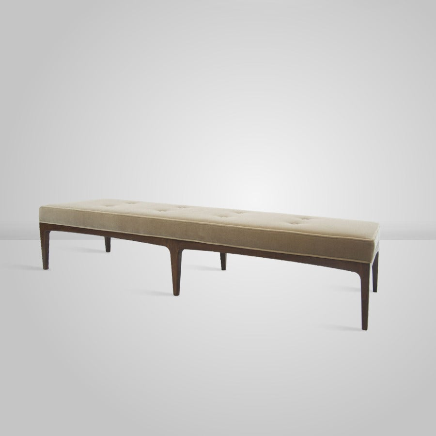 Extra Long Paul Mccobb Style Walnut Bench In Mohair At 1stdibs
