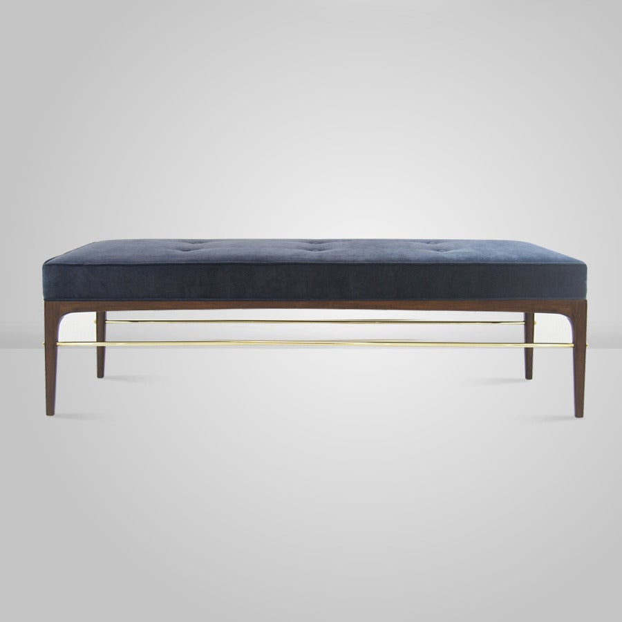 1950s Edward Wormley Style Brass Rodded Bench In Navy Blue Chenille At 1stdibs