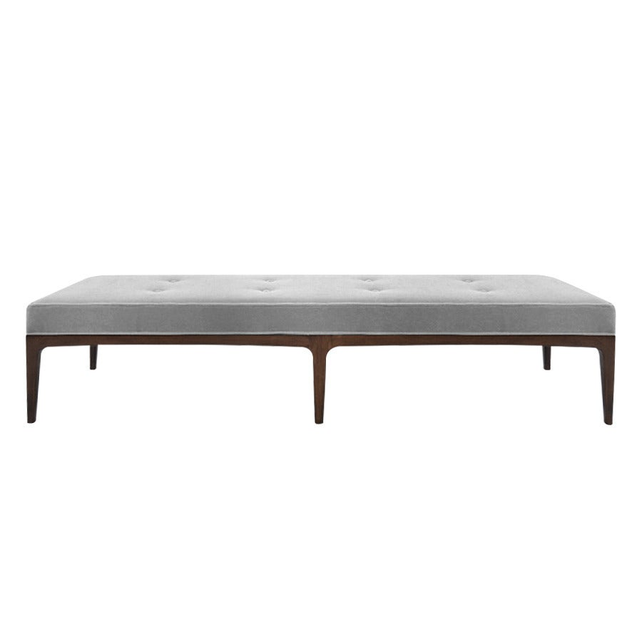 Extra Long Paul Mccobb Style Bench In Grey Mohair At 1stdibs