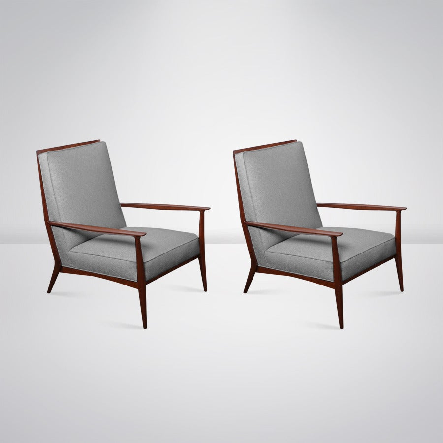 Paul Mccobb For Directional Walnut Frame Lounge Chairs 1950s For Sale At 1stdibs