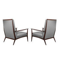 Paul McCobb for Directional Walnut Frame Lounge Chairs, 1950s