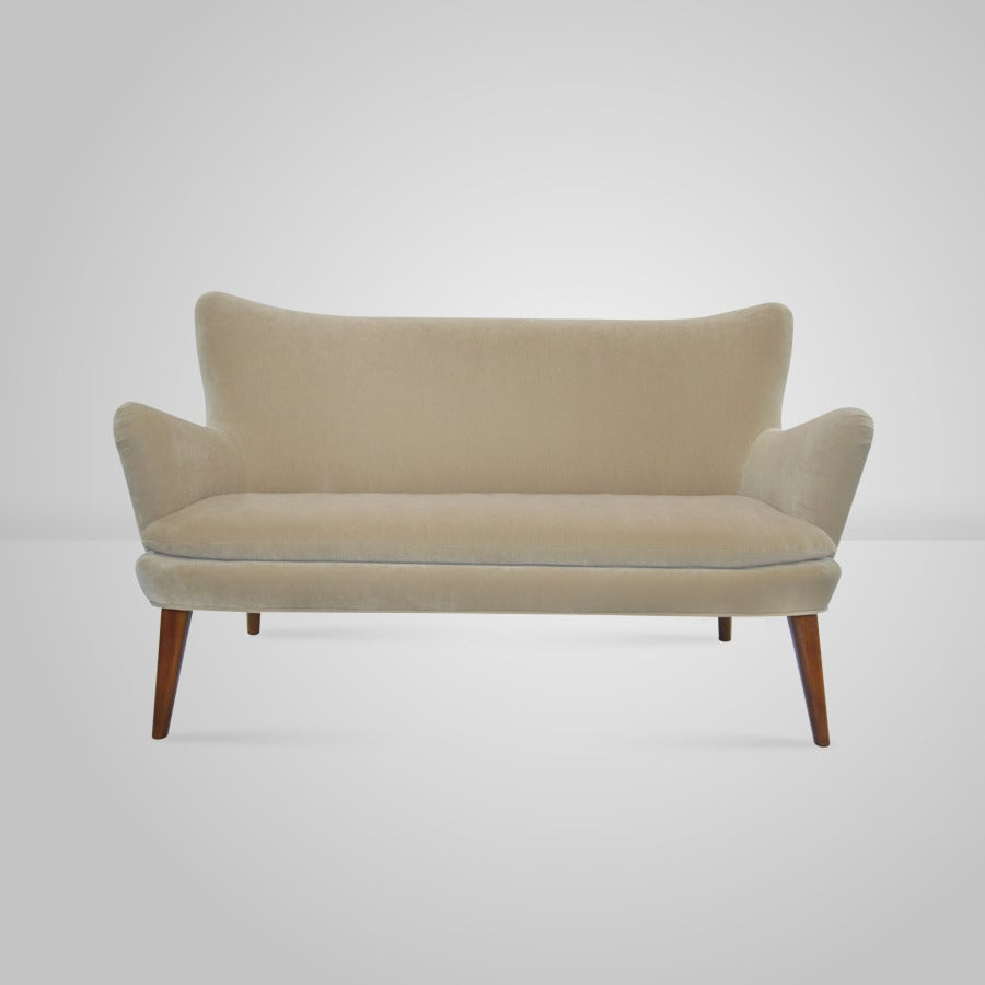 Italian Wingback Loveseat In The Manner Of Giorgio Ramponi Circa 1940s At 1stdibs
