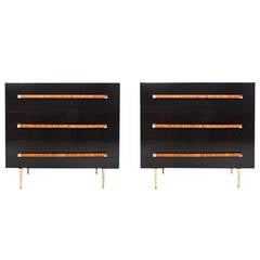 Pair of Ebonized Chests of Drawer by T.H. Robsjohn-Gibbings for Widdicomb