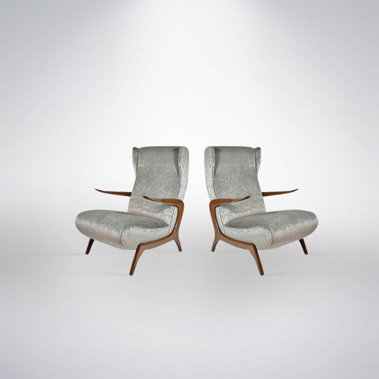 Gio Ponti Inspired Floating High Back Lounge Chairs Italy 1950s At 1stdibs