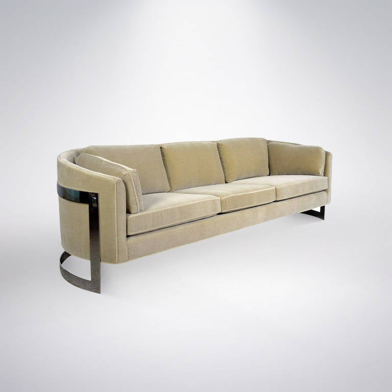 Milo Baughman Floating Mohair Sofa For Sale At 1stdibs