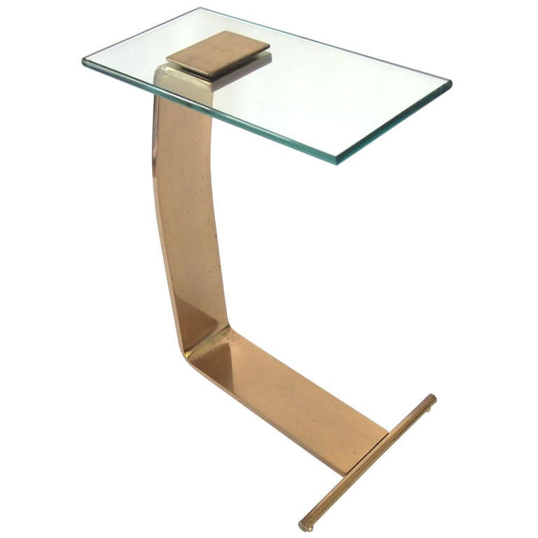 Cantilevered Brass Side Table After Karl Springer At 1stdibs