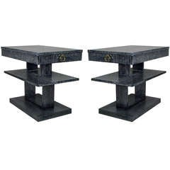 Pair of Gibbings Style Cerused Side / End Tables