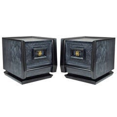 "Pair of ""W"" Cerused Nightstands after James Mont"