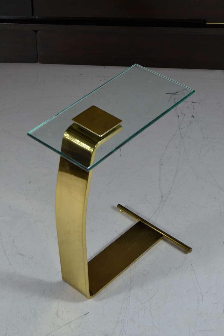 Cantilevered Brass Side Table After Karl Springer At 1stdibs