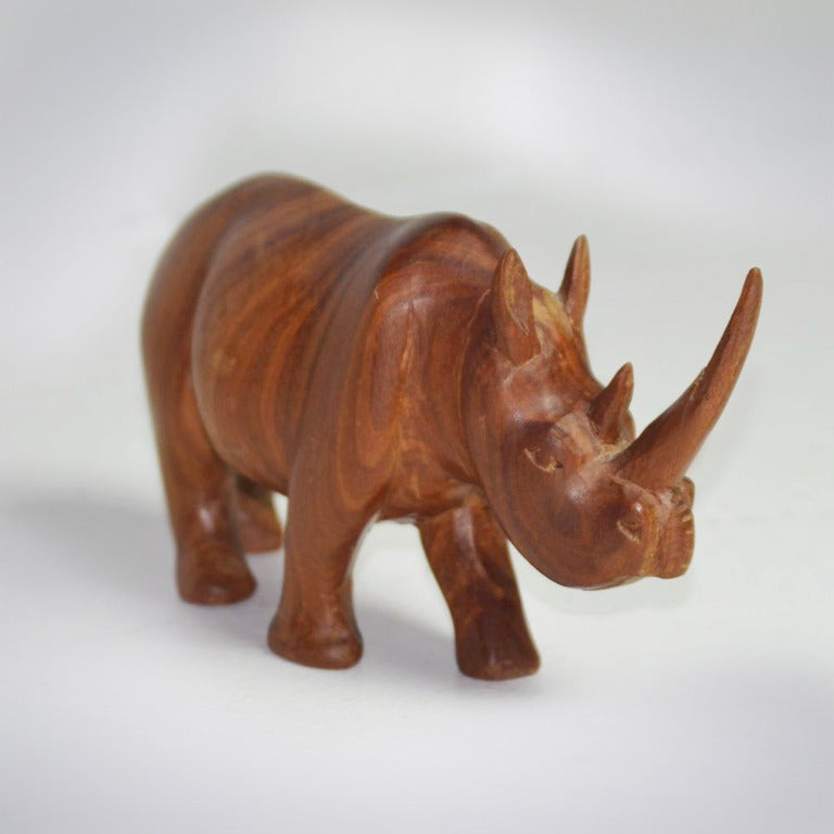 1950s Teak Rhinoceros Sculpture 4