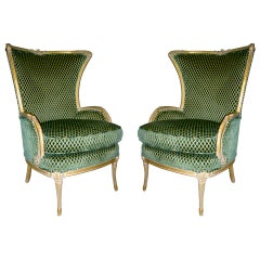 Pair of Carved Wood Gilt Wing Back Chairs