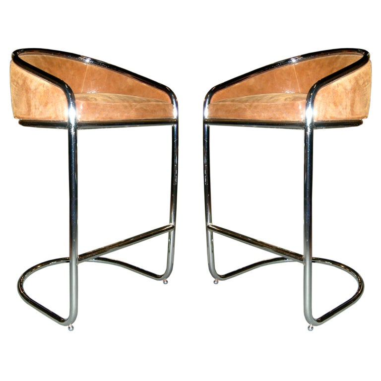 Cantilevered Bar Stools In Embossed Leather Milo Baughman