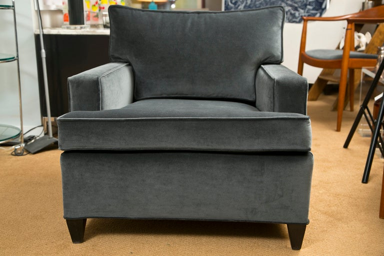 A vintage 1960's Slate Gray Velvet club chair newly upholstered having classic set back square arms and tapered wood foot.