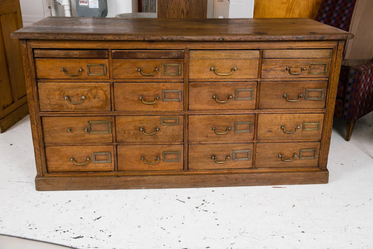 Antique British Solid Oak Library or Postal Cabinet at 1stdibs
