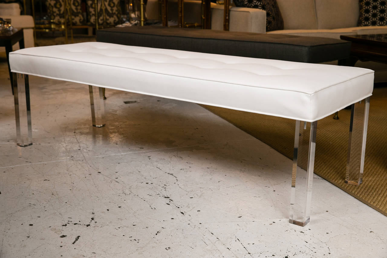 Excellent Mid Century Lucite Tufted White Vinyl Bench Beatyapartments Chair Design Images Beatyapartmentscom