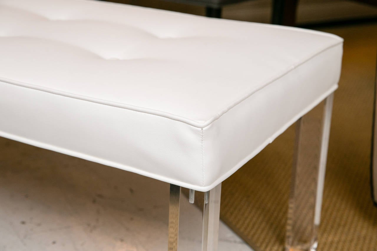 American Mid-Century Lucite Tufted White Vinyl Bench For Sale