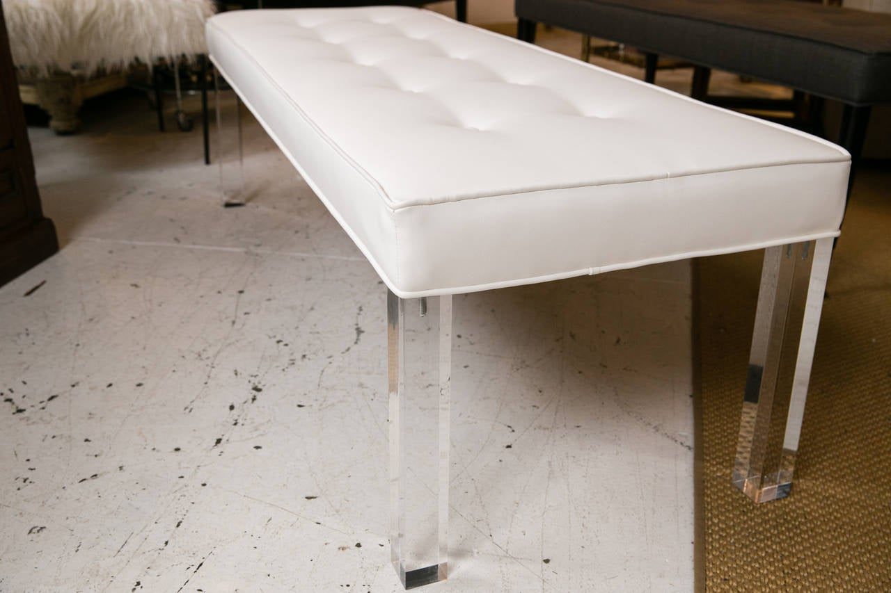 Mid Century Lucite Tufted White Vinyl Bench For Sale At