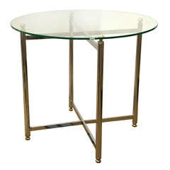 Mid-Century Chrome and Brass Accent Table