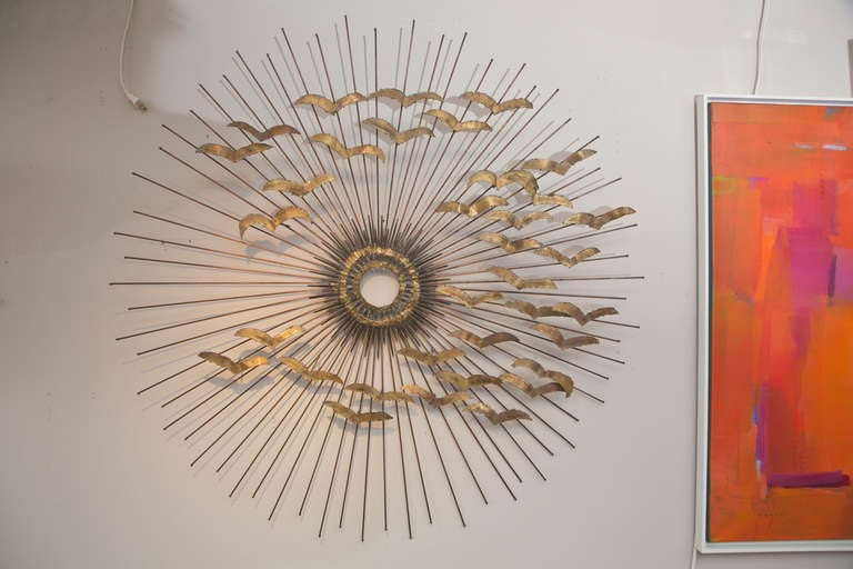 A Wonderful, Older Jere Wall Sculpture Which Combines His Magnificent  Copper Rod Sunburst With A