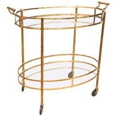 Classic Mid-Century Oval Bar Cart