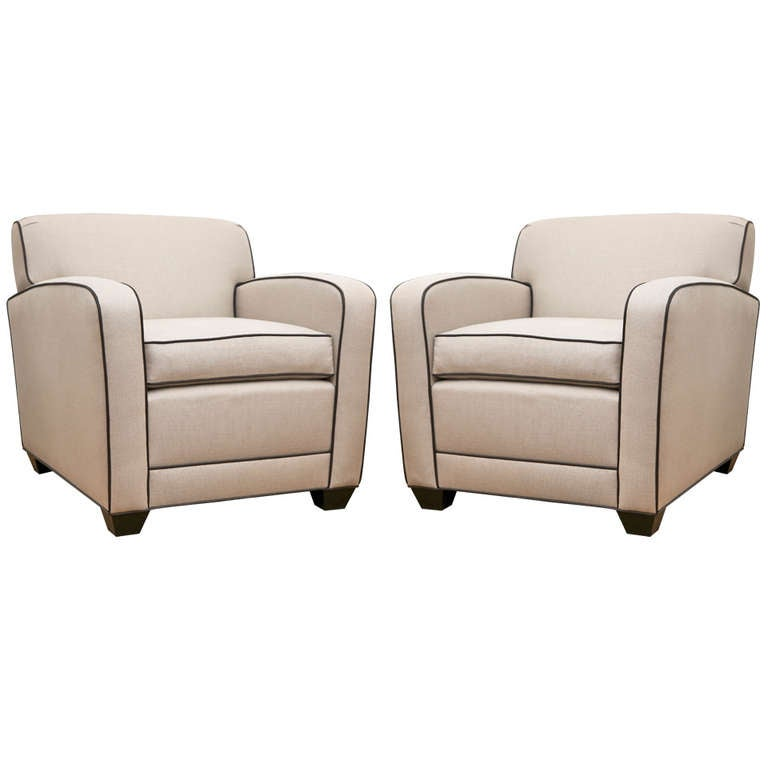 Pair Of French Style Custom Club Chairs At 1stdibs