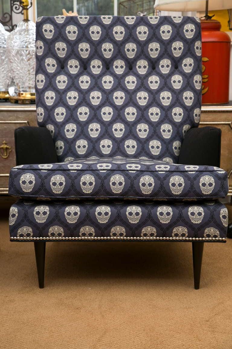 Mid-Century Skull Fabric Chair 2