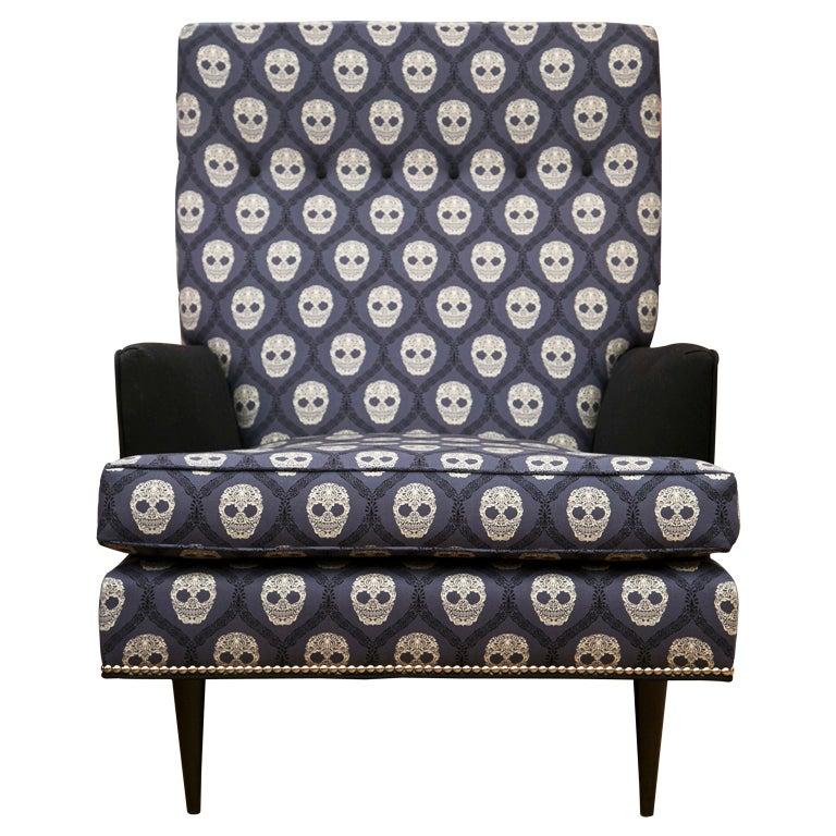 Mid-Century Skull Fabric Chair 1