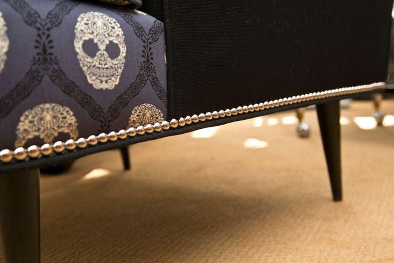Mid-Century Skull Fabric Chair 8