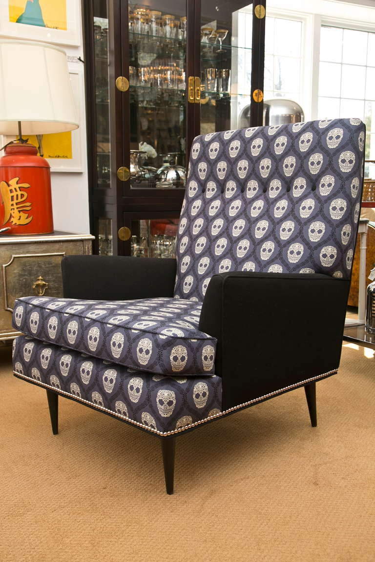 Mid-Century Skull Fabric Chair 5