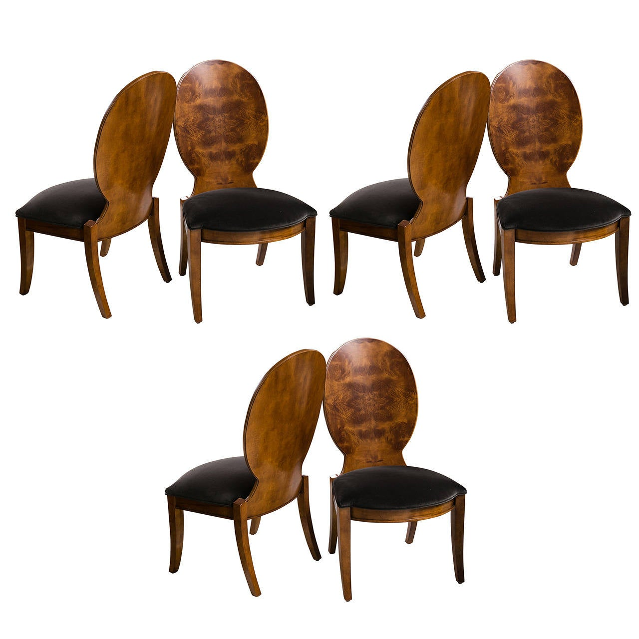 finely crafted bookmatched burl wood set of six dining chairs for sale - Set Of Six Dining Room Chairs