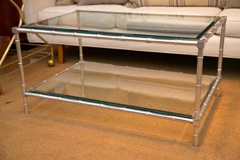 neoclassical style faux- bamboo silver leaf coffee table at 1stdibs