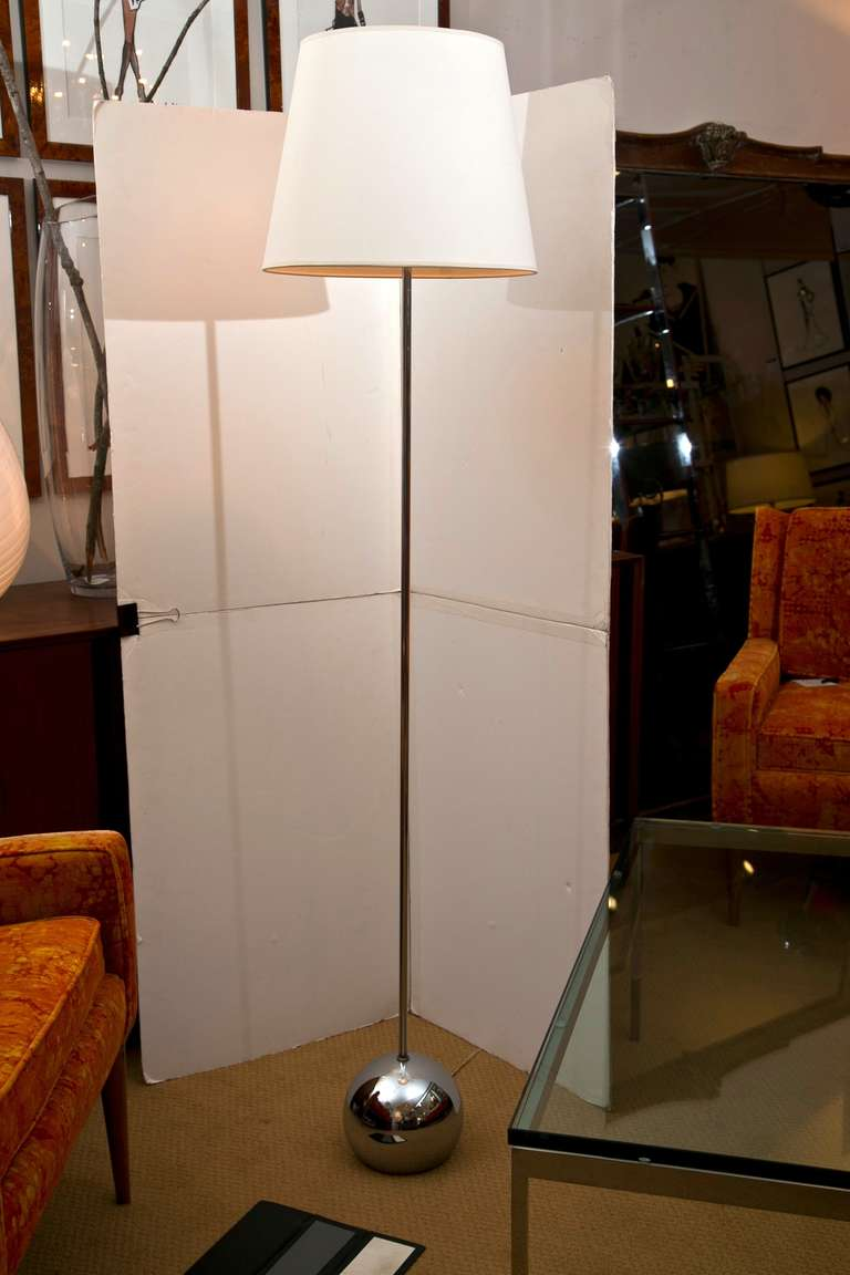 Mid Century Chrome Ball Base Floor Lamp At 1stdibs