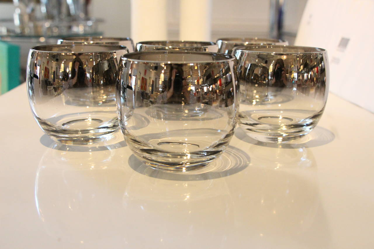 Set Of Dorothy Thorpe Silver Fade Roly Poly Glasses At 1stdibs