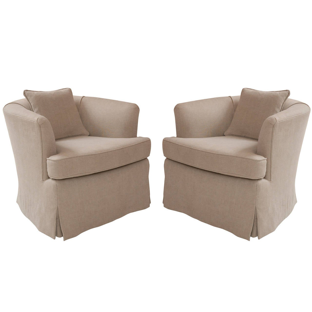 Pair Of Custom Linen Mid Century Swivel Club Chairs At 1stdibs