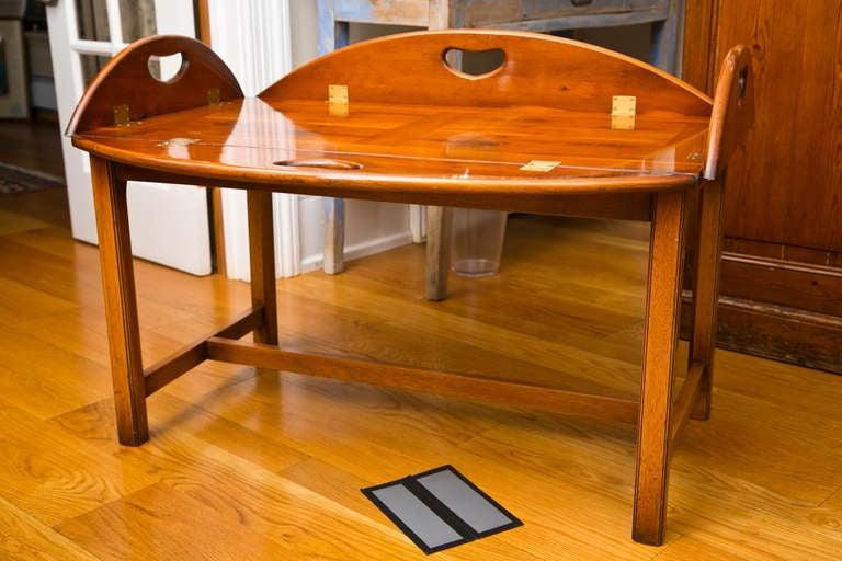 Antique British Yew Wood Butleru0027s Tray Table 3