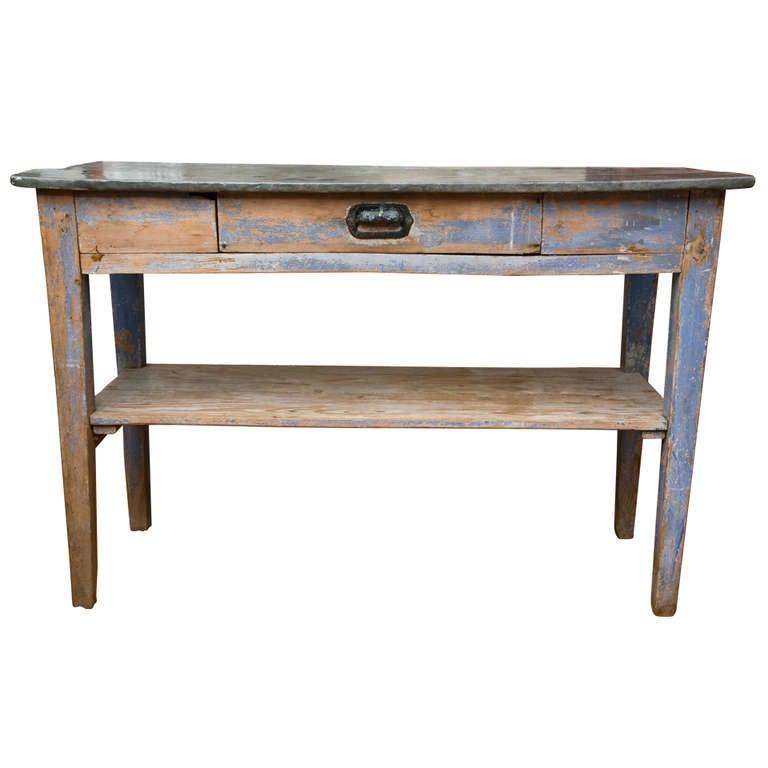 Antique French Zinc-Top Potting Table 1 - Antique French Zinc-Top Potting Table At 1stdibs